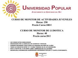 CURSOS: MONITOR ACTIVIDADES JUVENILES Y MONITOR LUDOTECA – UNIVERSIDAD POPULAR