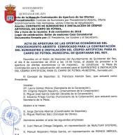 Actas de la mesa de contratación. Suministro e instalación del césped artificial del campo de fútbol municipal.
