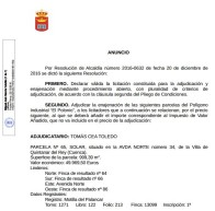 """Adjudicación definitiva parcelas Polígono Industrial """"El Polonio"""""""